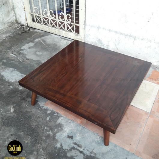 Bàn trà nhật gỗ sồi chân tiện màu óc chó vuông 80cm