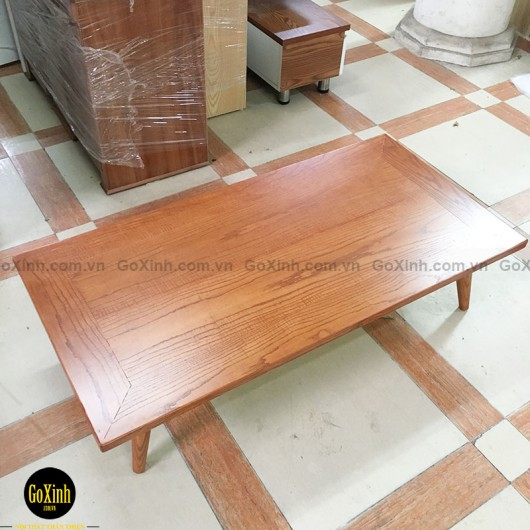 Bàn trà nhật gỗ sồi chân tiện màu vecni 120cm
