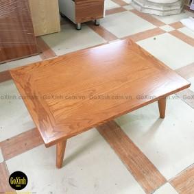 Bàn trà nhật gỗ sồi chân tiện màu vecni 80cm