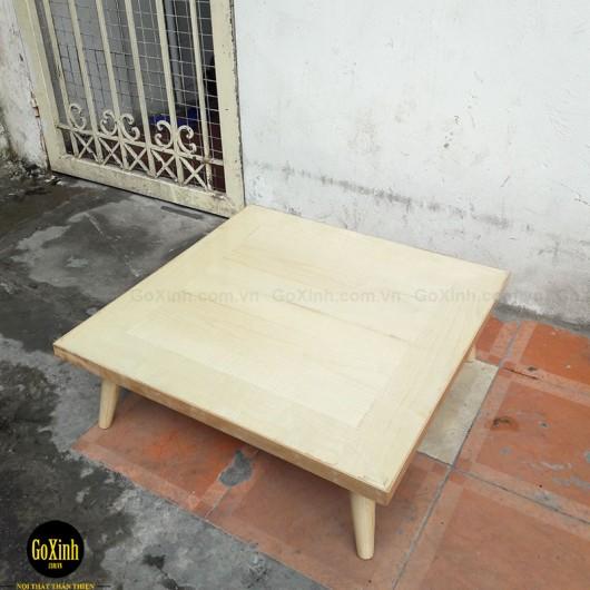 Bàn trà nhật gỗ sồi chân tiện màu gỗ vuông 80cm