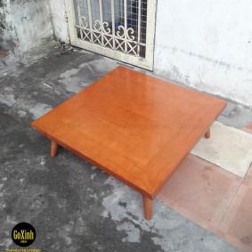 Bàn trà nhật chân tiện gỗ sồi màu vecni vuông 80cm