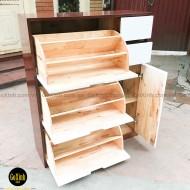 Tủ giày thông minh cherry 100cm gỗ cao su tự nhiên